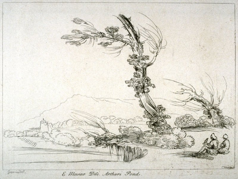 Landscape with two men seated by a river, from the series 'Prints in Imitation of Drawings'
