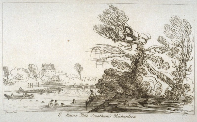 Landscape with river and bathers, from the series 'Prints in Imitation of Drawings'