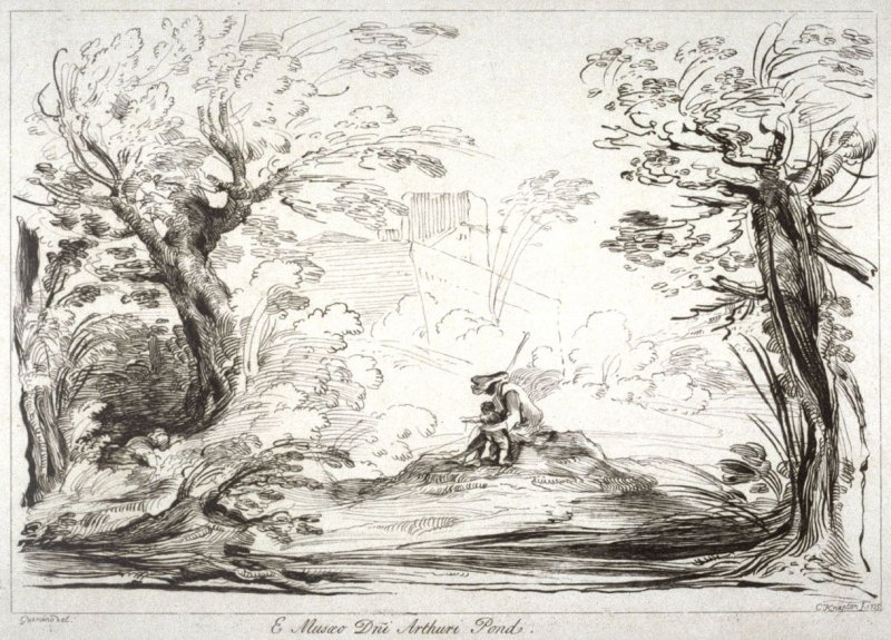 Landscape with man and a child, from the series 'Prints in Imitation of Drawings'
