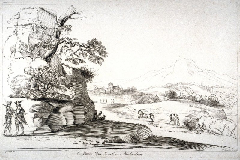 Landscape with ruins and runaway horse, from the series 'Prints in Imitation of Drawings'