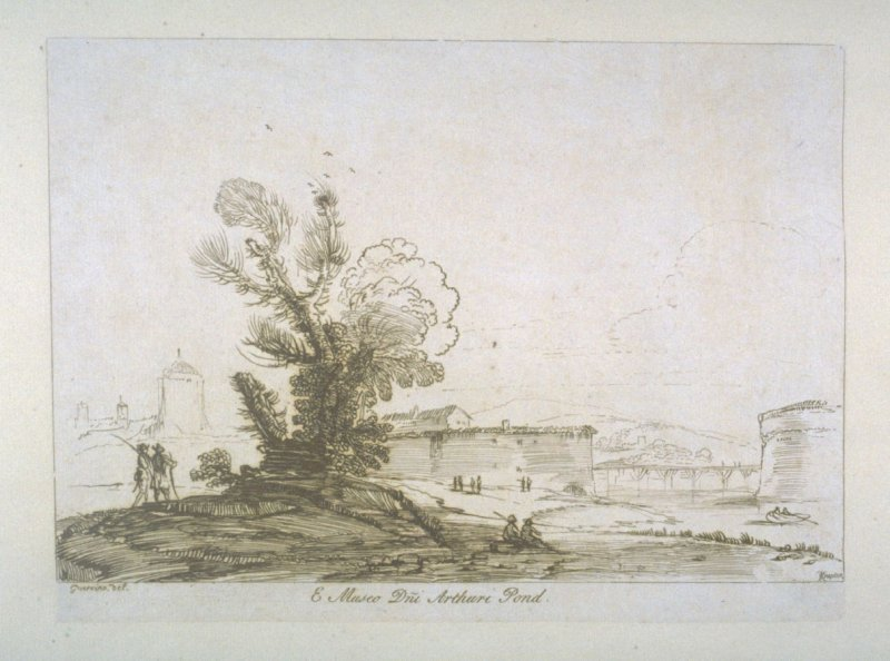 [landscape with soldiers standing near a tree at left], from the series 'Prints in Imitation of Drawings'