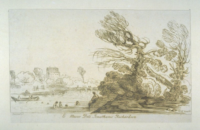 [landscape with children bathing in a river], from the series 'Prints in Imitation of Drawings'