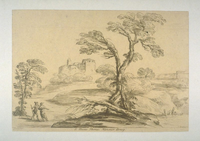 [landscape with trees at centre, two men at left and castle in the background], from the series 'Prints in Imitation of Drawings'