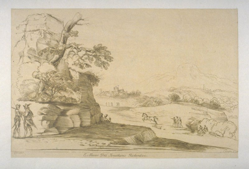 [landscape with overgrown ruined structure at left, a city in the backgrond]