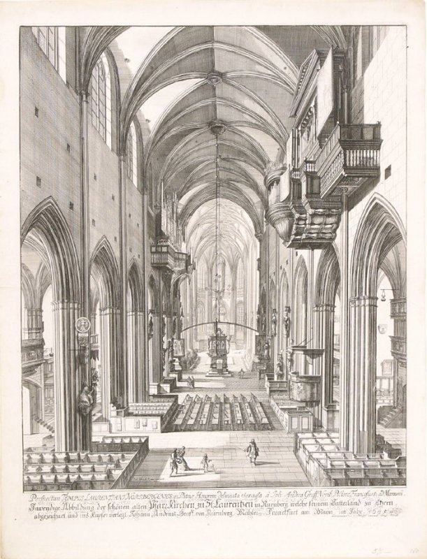 Interior of the Church of Saint Lawrence from the series Sixteen Views of Nurnburg (Germany)