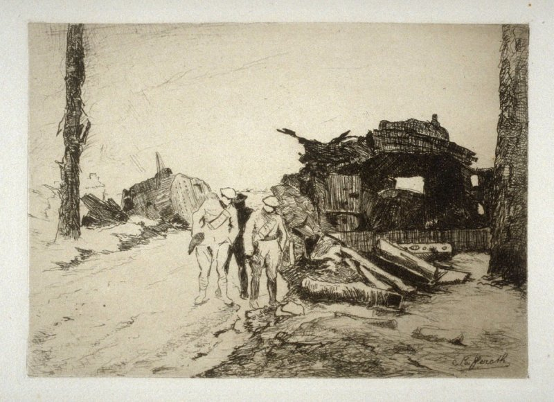 Ruined Tanks on the Ypres-Poelcapelle Road, Belgium - #13 in the portfolio Pages of Glory and History, the 91st Division in Argonne and Flanders (Paris, New York, San Francisco: City of Paris, 1920)