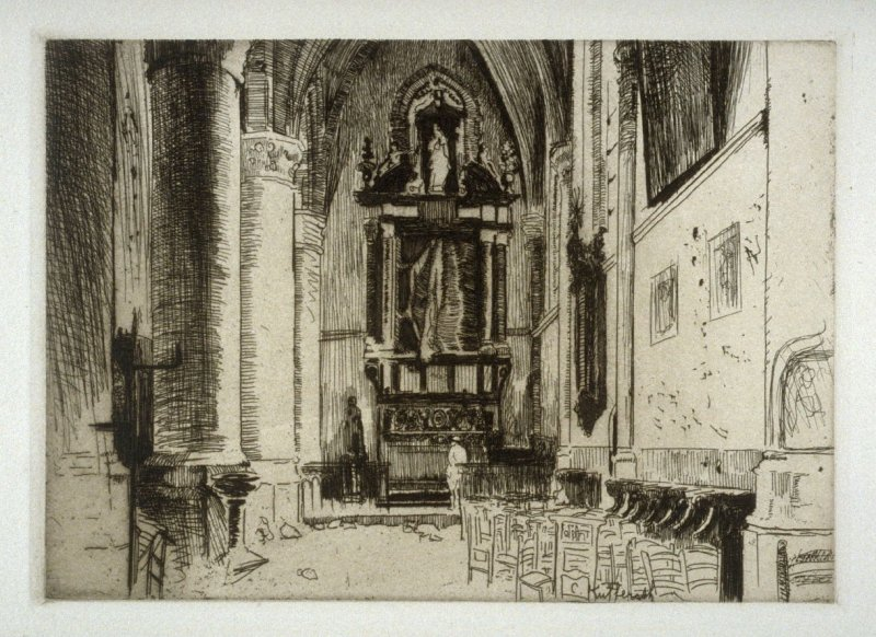 Interior of Saint-Walburga - #14 in the portfolio Pages of Glory and History, the 91st Division in Argonne and Flanders (Paris, New York, San Francisco: City of Paris, 1920)