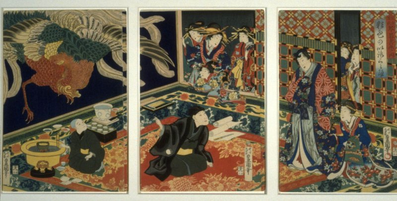 A Self-Portrait of the Artist Kunisada, Before a Wall Painting of a Phoenix - From the Series: A Modern Prince Genji