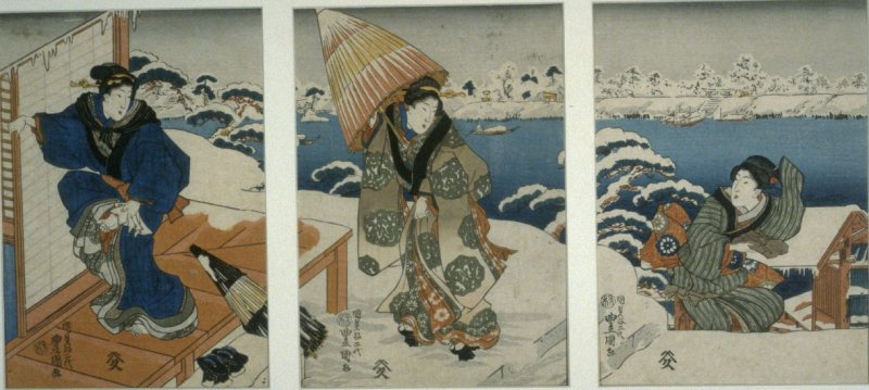 Three Women Arriving at a House (in snowy weather)