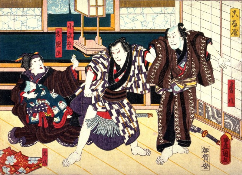 Konaya, The Powder Shop with the actors Fusahachi, Kobungo, Onui, Daihachi, based on a play from Bakin's novel Eight Days (Hakkenden)from an untitled series of half-block scenes from kabuki plays