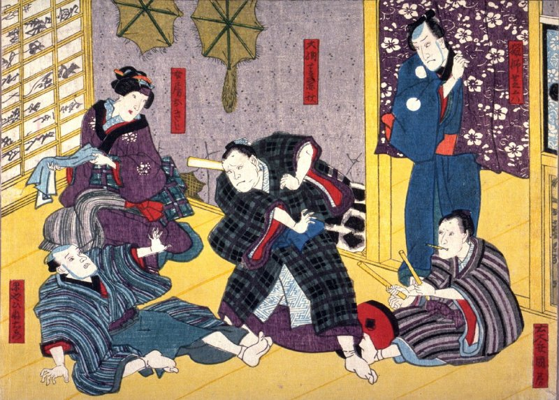 Actors as the Hunter Shibaroku, Udaisho Kunifusa, Dainagon Kaneaki, the rice merchant Hineemon and His Wife Okiji from an untitled series of half-block scenes from kabuki plays