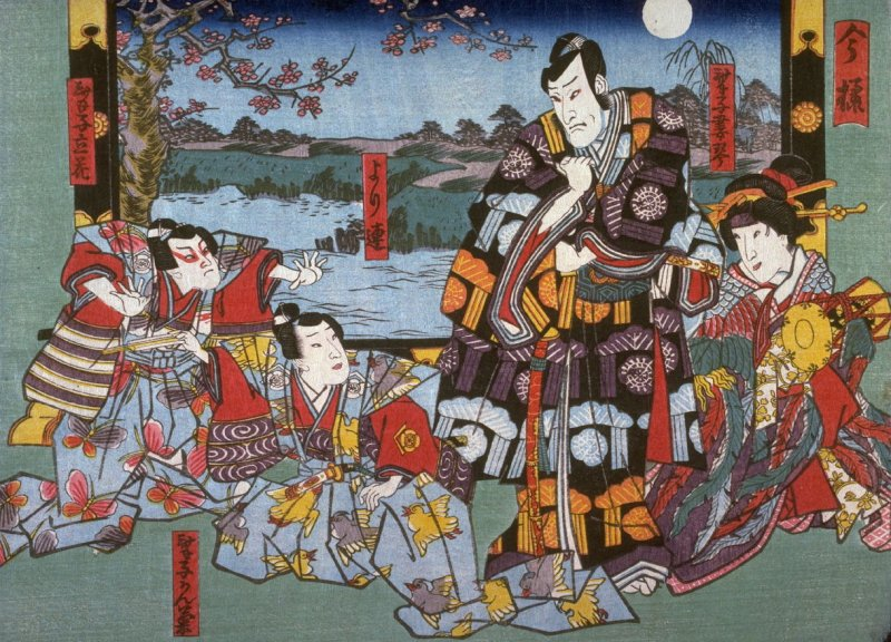 The Actors as the Geisha Tsumagoto, Yoritsura,and the Children Kangiku and Tachibama, Dressed as the Soga Brothers and their Ememy Kudi Suketsune in Modern Style (Imayo) from an untitled series of half-block scenes from kabuki plays
