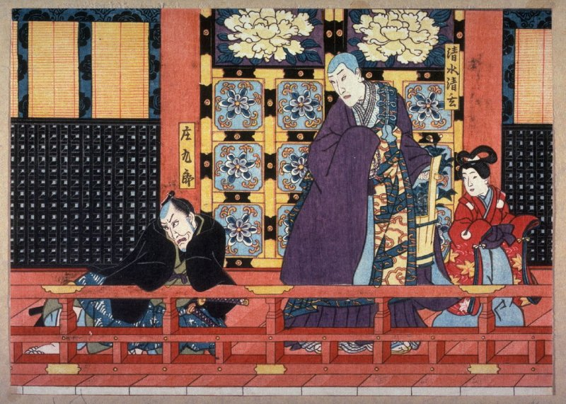 Actors as Kiyomizu Seigen and Shokuro in scenes from a play based on the romance between the Abbot Seigen and Sakurahime from an untitled series of half-block scenes from kabuki plays