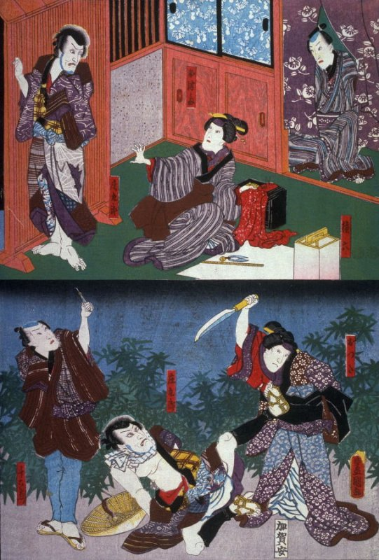 Actors as Gonroku, Otsuma, Shokuro,Otsuta and Sen'emon from an untitled series of half-block scenes from kabuki plays