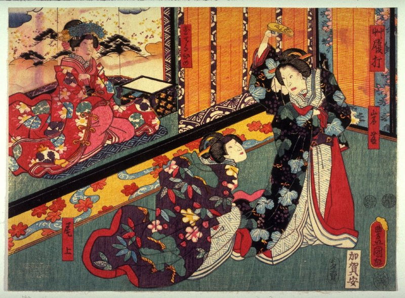 Actors as Iwafuji, Onoe, and Tamateruhime in The Sandal Blow (Zoriuchi) from the play Kagamiyama, from an untitled series of half-block scenes from kabuki plays