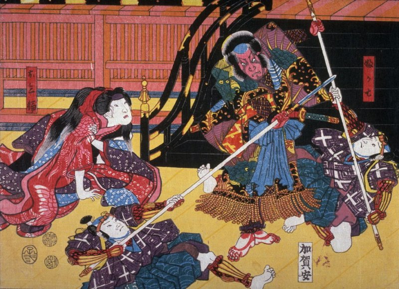 Actors as Fukashichi and Omiwa in a scene from the play Imoseyama, from an untitled series of half-block scenes from kabuki plays