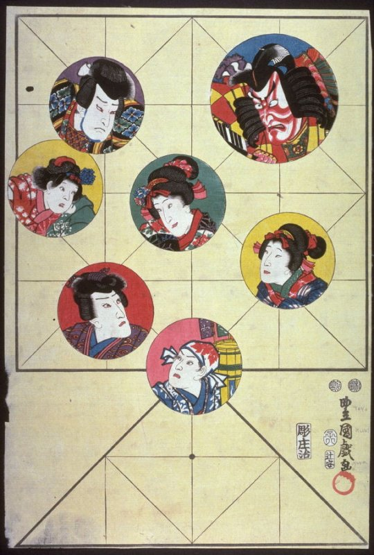 Gameboard with Bust Portraits of Seven Actors in Circles
