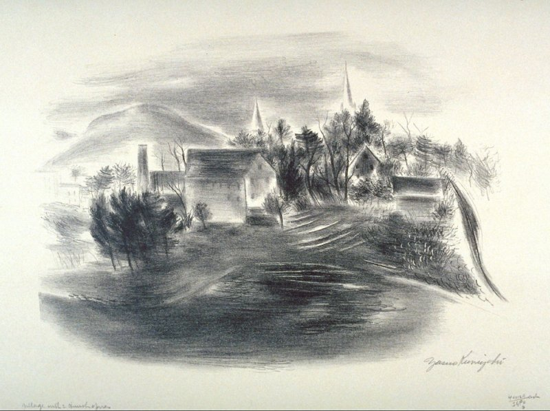 Village with two church spires