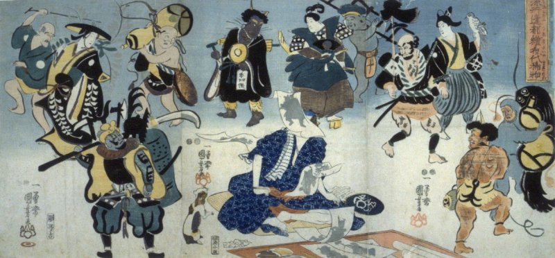 A Self-portrait of the artist Kuniyoshi Surrounded by Figures from his Sketches