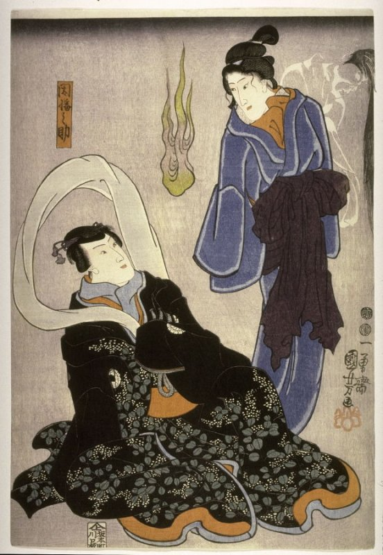 Actor as Inabanosuke and the ghost of a courtesan