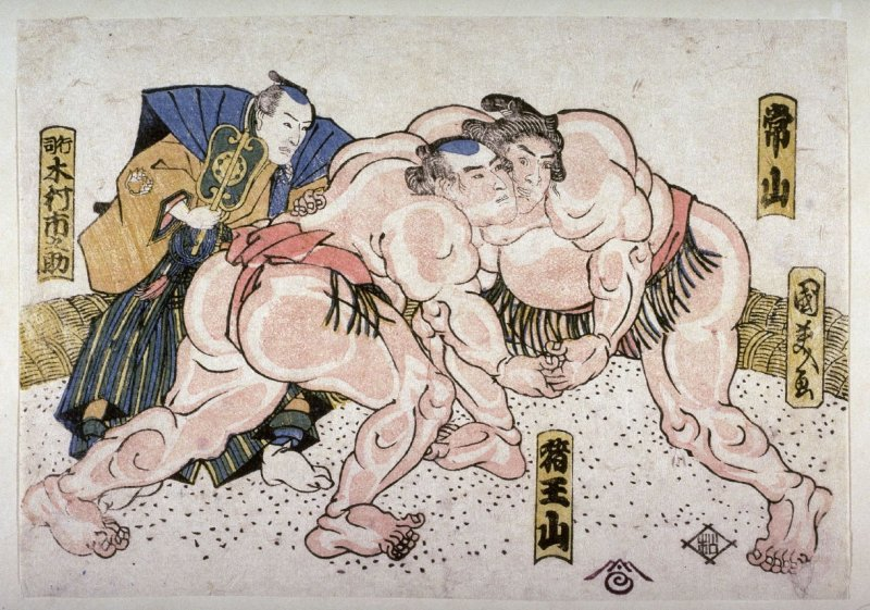 The wrestlers Tsuneyama and Ioyama and the umpire Kimma Ichinoske
