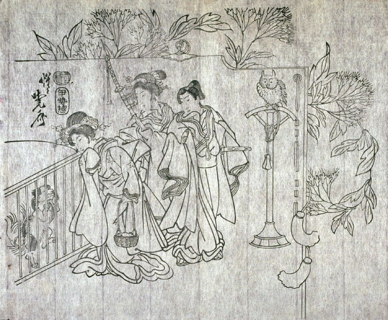 Untitled (Flowers, Man and Two Women Looking at Dog) sixth of a group of thirteen proofs from the key blocks of fan prints combining genre and floral studies