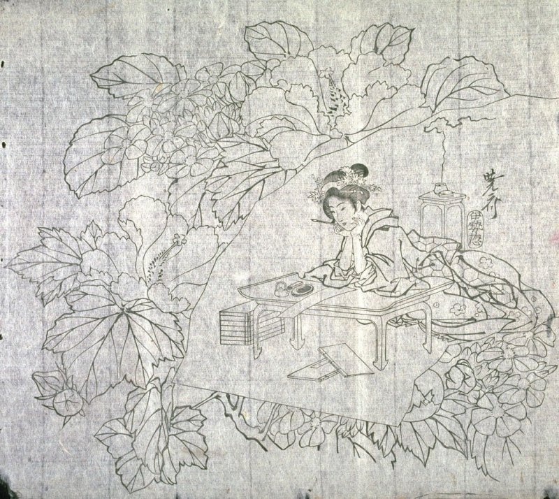 Untitled (Mallows and Hydrangea, Woman Seated at Writing Desk), second of a group of thirteen proofs from the key blocks of fan prints combining genre and floral studies