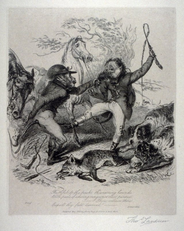 A fox-hunter's salute, from the series 'Monkeyana or Men in Miniature'