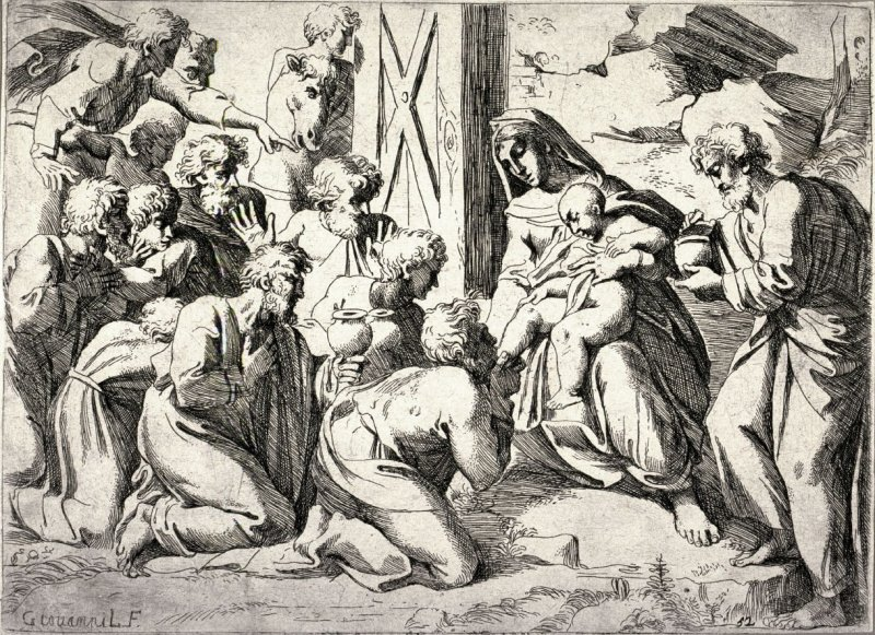 The Adoration of the Magi, from the series after the frescoes by Raphael in the Vatican Loggia