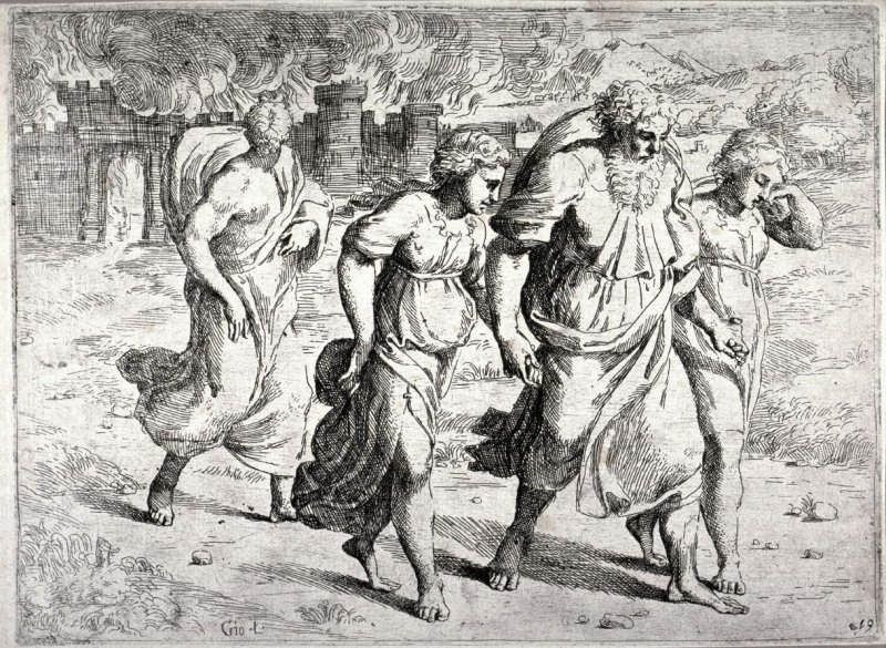 Lot Leaving the City of Sodom, from the series of etchings Biblical Scenes, after the frescoes by Raphael in the Vatican Loggia