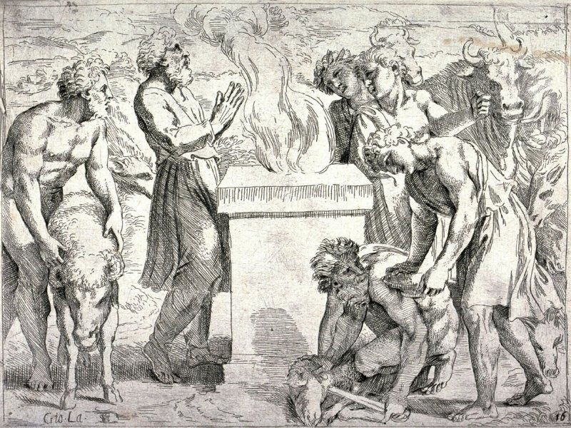 Noah Offering a Sacrifice of Thanks to God, from the series of etchings Biblical Scenes, after the frescoes by Raphael in the Vatican Loggia