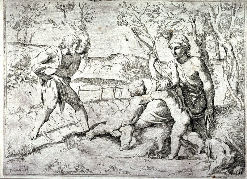 Adam and Eve with Cain and Abel, from the series of etchings Biblical Scenes, after the frescoes by Raphael in the Vatican Loggia