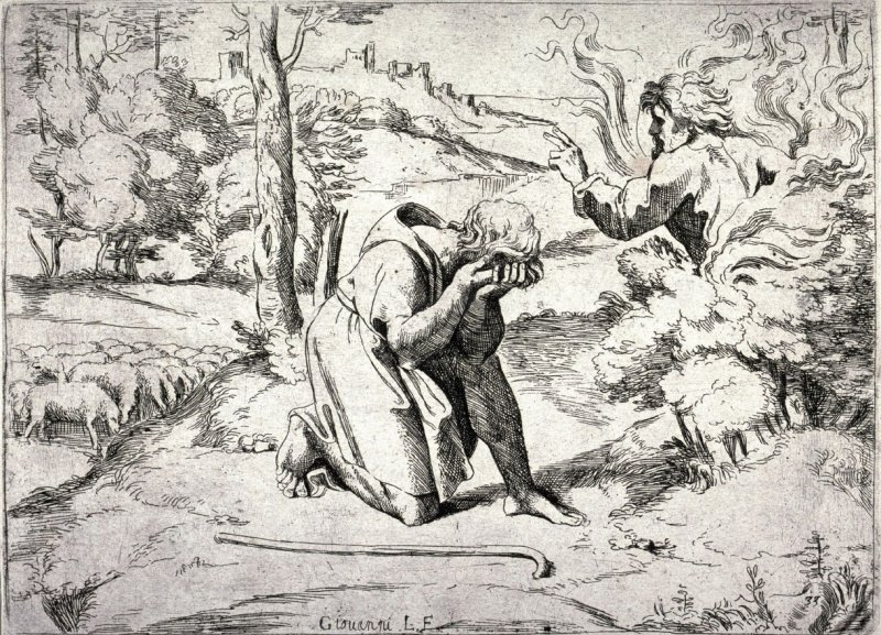 God Appearing to Moses in a Burning Bush, from the series of etchings Biblical Scenes, after the frescoes by Raphael in the Vatican Loggia
