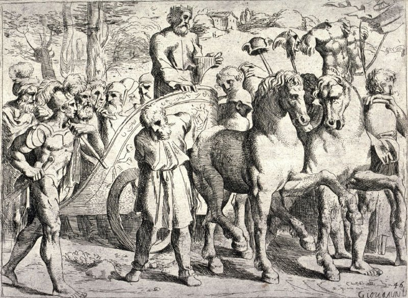 David Returning to Jerusalem After Subjugating Syria, from the series of etchings Biblical Scenes, after the frescoes by Raphael in the Vatican Loggia