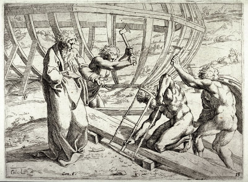 Noah Building the Ark, from the series of etchings Biblical Scenes, after the frescoes by Raphael in the Vatican Loggia