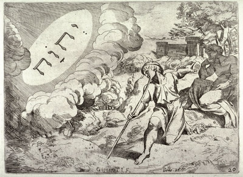 God Appearing to Isaac, and Forbidding Him to Enter Egypt, from the series of etchings Biblical Scenes, after the frescoes by Raphael in the Vatican Loggia