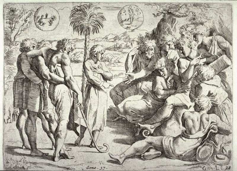 Joseph Relating his Dreams to his Brothers, from the series of etchings of biblical scenes after the frescoes by Raphael in the Vatican Loggia