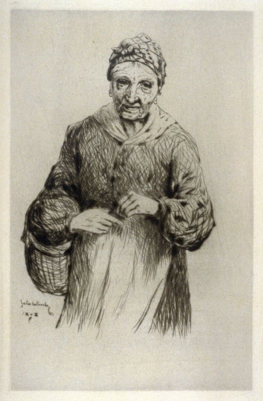 Plate from L'Assommoir (Old Woman with Basket)