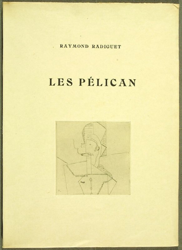 Cover, in the book Les Pélican (The Pelicans) by Raymond Radiguet (Paris: Galerie Simon; 1921).