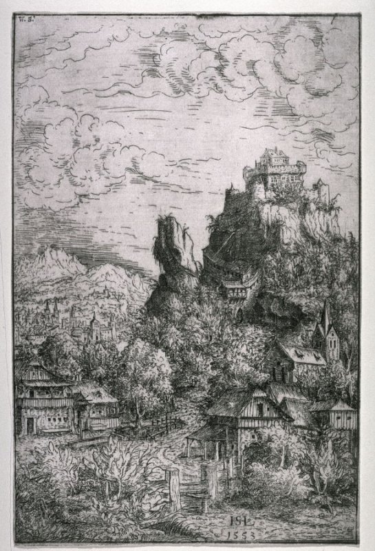 Town at the foot of a fortress on a high rock