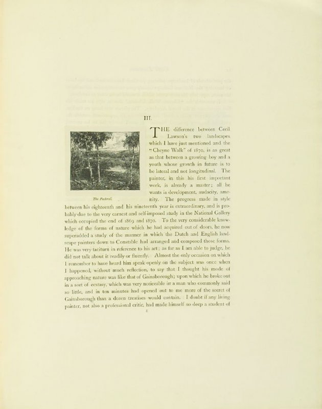 """""""The Pastoral,"""" pg. 13, in the book Cecil Lawson: A Memoir by Edmund W. Gosse (London: The Fine Art Society, 1883)"""