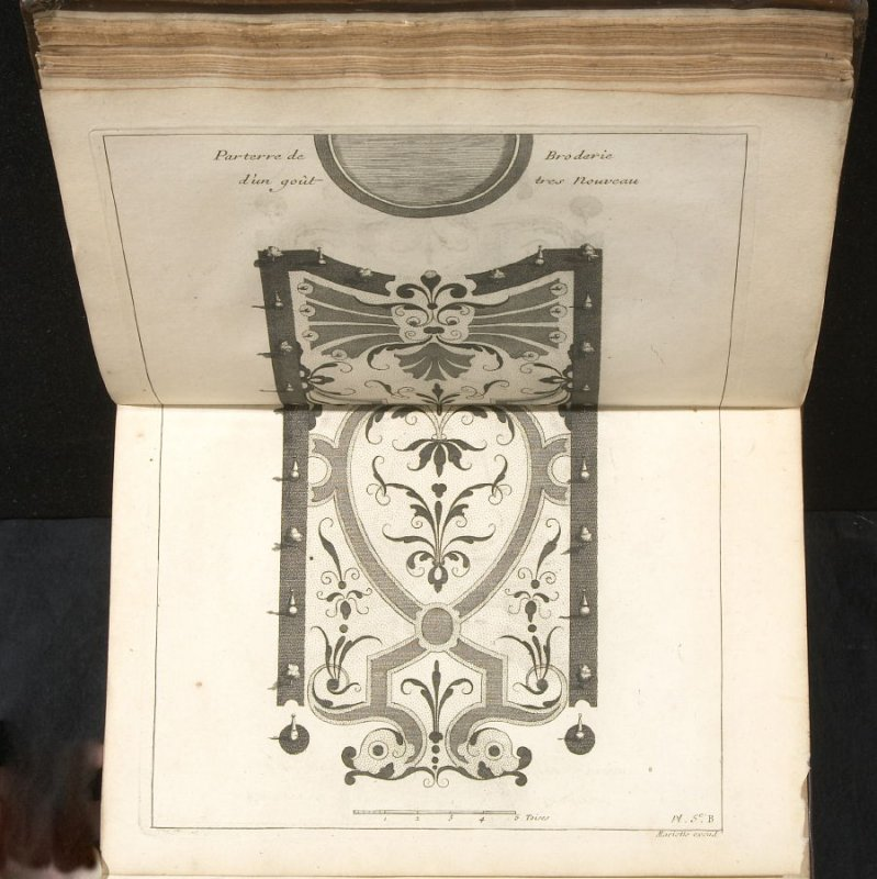 Parterre de broderie d'un goût tres nouveau, fifth plate after page 38 in the book La théorie et la pratique du jardinage (Paris: Jean Mariette, 1709)