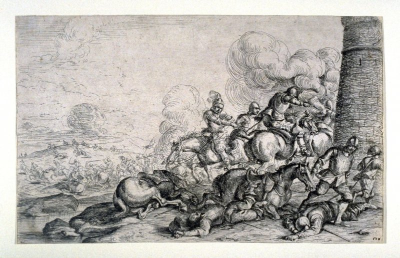 Battle at the foot of the tower, from a Set of four battle scenes, large