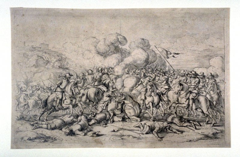 Battle at the foot of the mountain, from a Set of four battle scenes, large