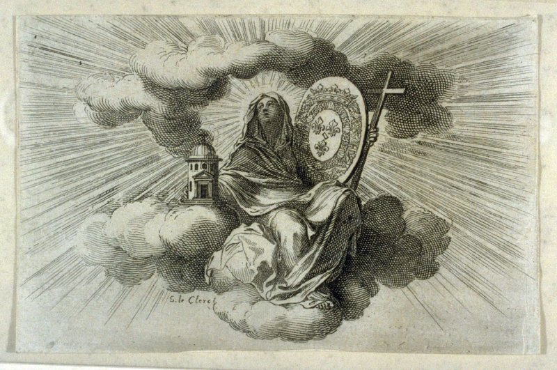 [Madonna on a cloud with cross, shield, and cupola]