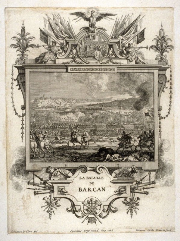 La Bataille De Barcan. from [Title from spine, in English on spine] Works of Sebastien Le Clerc, Vol. II . [This is a privately made collection, including: Les Actions glorieuses de S. A. S. Charles Duc de Lorraine &c. en Hongrie, Transylvanie, &c. ([no p