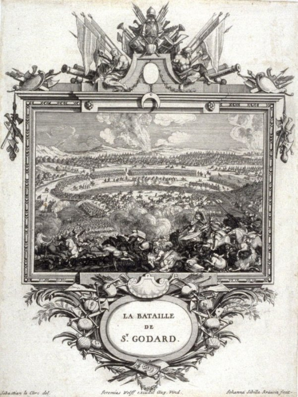 La Bataille De St. Godard , from [Title from spine, in English on spine] Works of Sebastien Le Clerc, Vol. II . [This is a privately made collection, including: Les Actions glorieuses de S. A. S. Charles Duc de Lorraine &c. en Hongrie, Transylvanie, &c. (