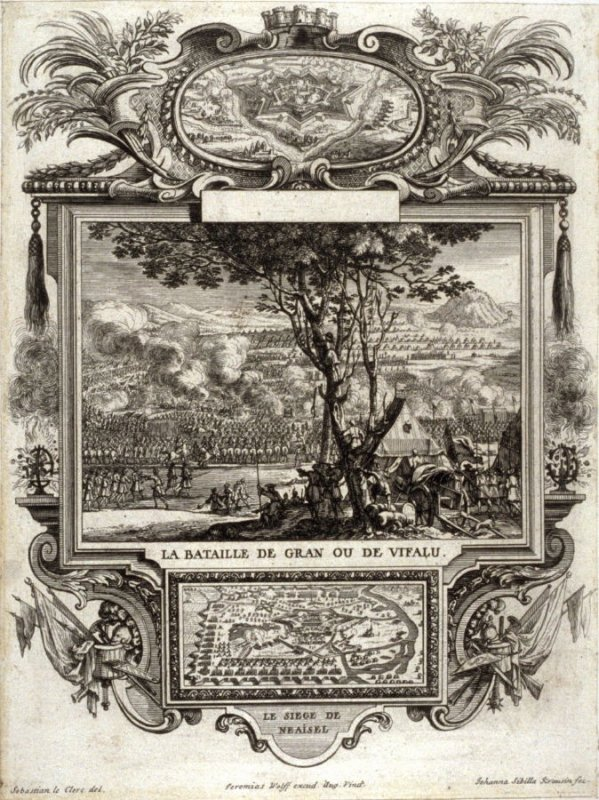 La Bataille DeGran Ou De Vifalu, from.. [Title from spine, in English on spine] Works of Sebastien Le Clerc, Vol. II . [This is a privately made collection, including: Les Actions glorieuses de S. A. S. Charles Duc de Lorraine &c. en Hongrie, Transylvanie