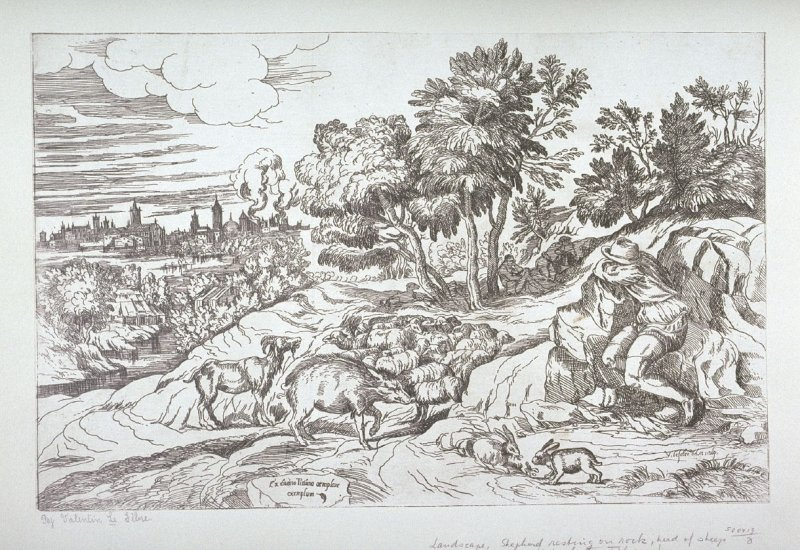 Landscape, Shepherd resting on rock, herd of sheep and rabbits, from Opera selectiora, quæ Titianus Vecellius Cadubriensis,' &c.