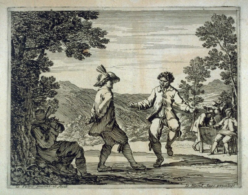 A couple of men dancing to the tune of a flute player